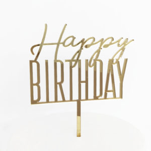 Cool Happy Birthday Cake Topper in Gold Mirror