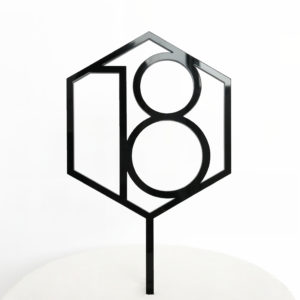 Number 18 Hexagon Cake Topper in Black Acrylic