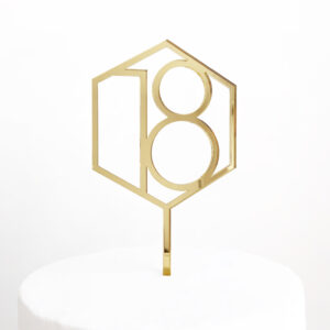 Number 18 Hexagon Cake Topper in Gold Mirror