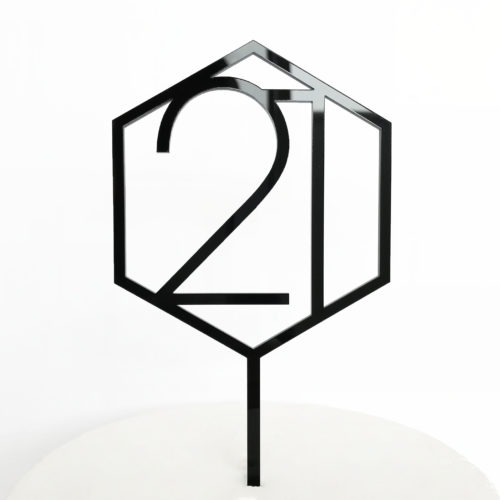 Number 21 Hexagon Cake Topper in Black