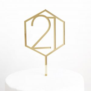 Number 21 Hexagon Cake Topper in Gold Mirror