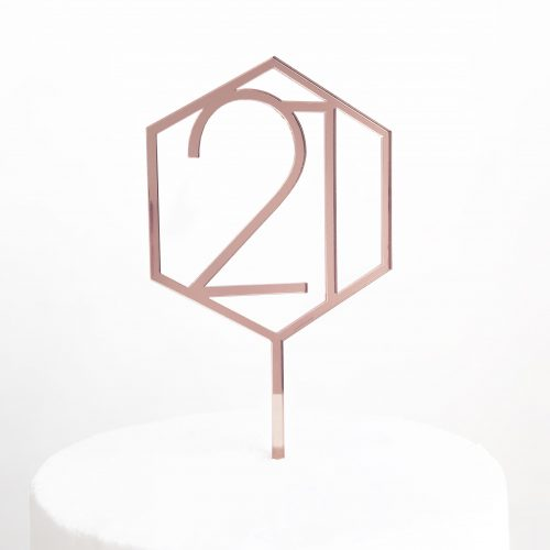 Number 21 Hexagon Cake Topper in Rose Gold