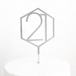 Number 21 Hexagon Cake Topper in Silver Mirror