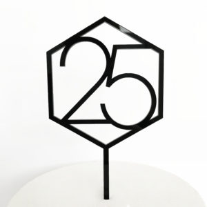 Number 25 Hexagon Cake Topper