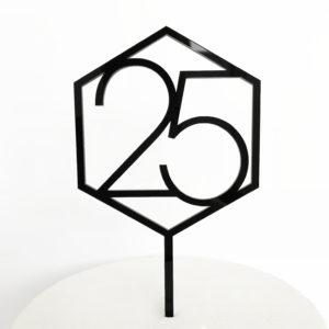 Number 25 Hexagon Cake Topper
