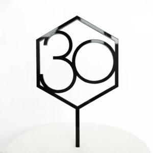 Number 30 Hexagon Cake Topper