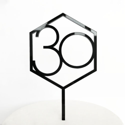 Number 30 Hexagon Cake Topper