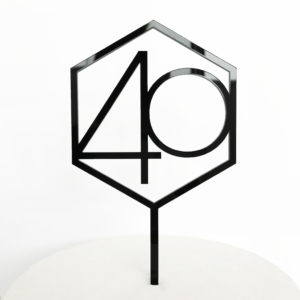 Number 40 Hexagon Cake Topper