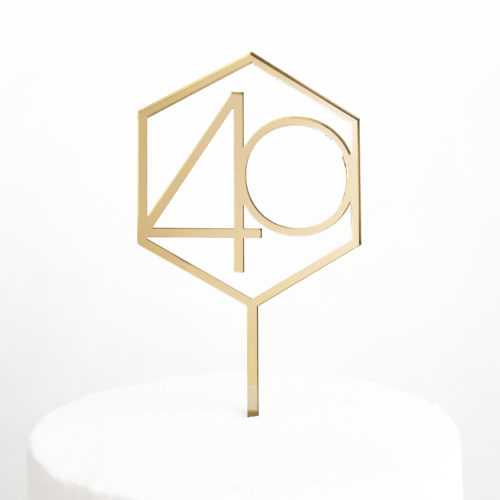 Number 40 Hexagon Cake Topper in Gold Mirror