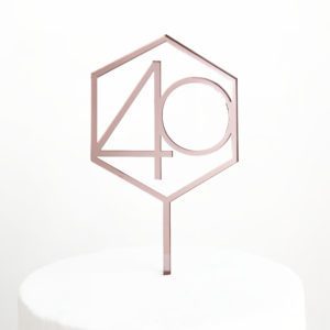 Number 40 Hexagon Cake Topper in Rose Gold
