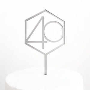 Number 40 Hexagon Cake Topper in Silver Mirror