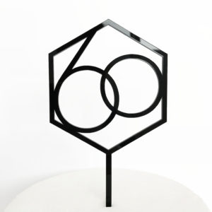 Number 60 Hexagon Cake Topper