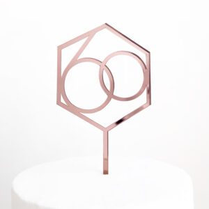 Number 60 Hexagon Cake Topper in Rose Gold