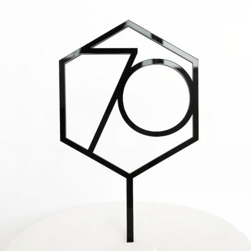 Number 70 Hexagon Cake Topper