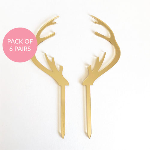 Baby Reindeer Antler Cake Topper Pack 6 Pairs in Gold Mirror