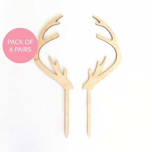 Baby Reindeer Antler Cake Topper Pack 6 Pairs in Maple Timber