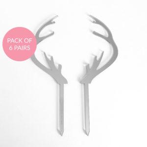 Baby Reindeer Antler Cake Topper Pack 6 Pairs in Silver Mirror