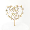 Mr and Mrs Heart Wreath Cake Topper in Maple Timber