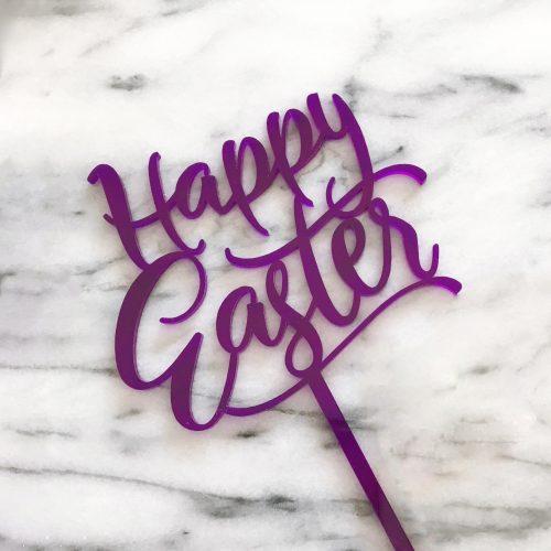 Fun Happy Easter Cake Topper in Purple