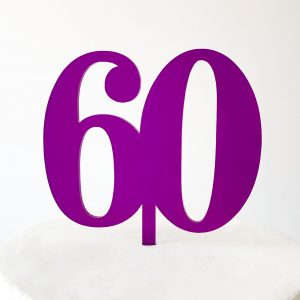 Classic Number 60 Cake Topper in Purple
