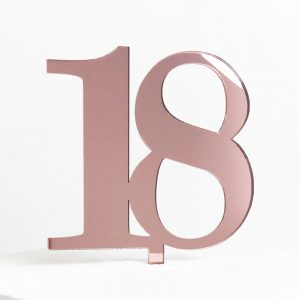 Classic Number 18 Cake Topper in Rose Gold