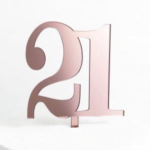 Classic Number 21 Cake Topper in Rose Gold