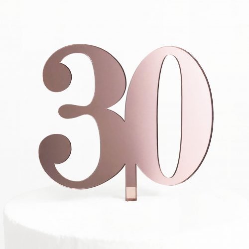 Classic Number 30 Cake Topper in Rose Gold