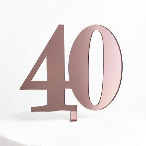Classic Number 40 Cake Topper in Rose Gold