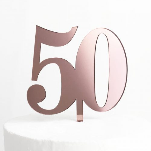 Classic Number 50 Cake Topper in Rose Gold