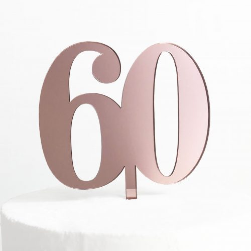 Classic Number 60 Cake Topper in Rose Gold