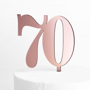 Classic Number 70 Cake Topper in Rose Gold