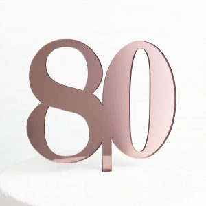 Classic Number 80 Cake Topper in Rose Gold