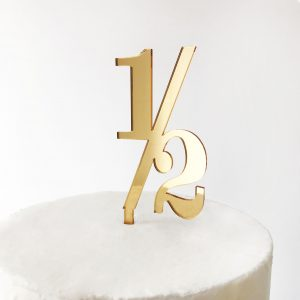 Classic Number Half Cake Topper in Gold Mirror