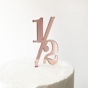 Classic Number Half Cake Topper in Rose Gold Mirror