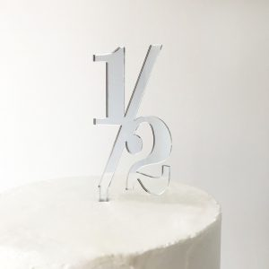 Classic Number Half Cake Topper in Silver Mirror