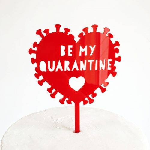Be My Quarantine Virus Cake Topper in Red