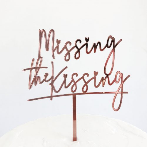Missing the Kissing Cake Topper in Rose Gold