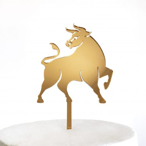 Lunar New Year Ox Cake Topper in Gold Mirror