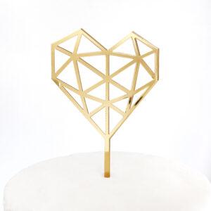 Medium Geo Heart Cake Topper in Gold Mirror