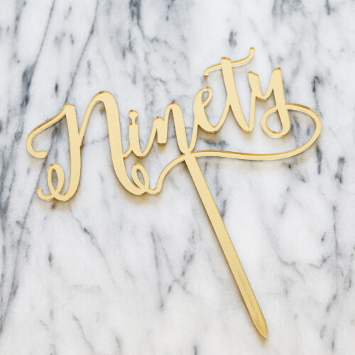 Nifty Ninety Cake Topper in Gold Mirror (Original Size)
