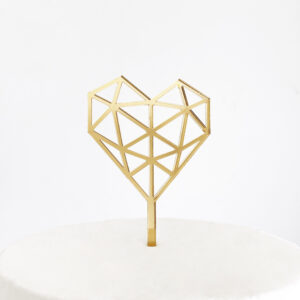 Small Geo Heart Cake Topper in Gold Mirror