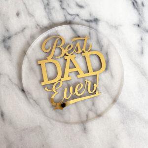 Floating Best Dad Ever Cake Badge