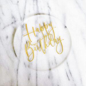 Lovely Floating Happy Birthday Cake Badge