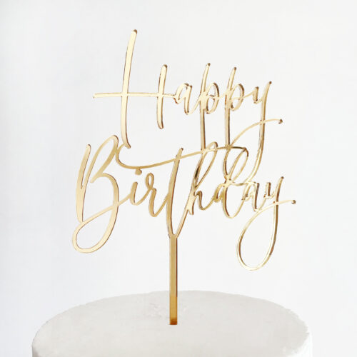 Large Lovely Happy Birthday Cake Topper in Gold Mirror