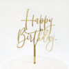 Small Lovely Happy Birthday Cake Topper in Gold Mirror